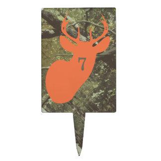 Orange Deer Head Hunting Birthday Cake Pick