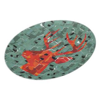 Orange deer silhouette collage plate