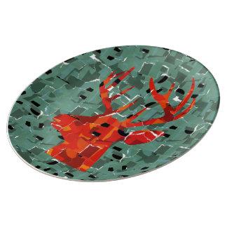 Orange deer silhouette collage porcelain plate