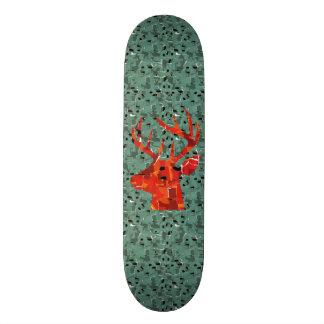 Orange deer silhouette collage skateboard deck