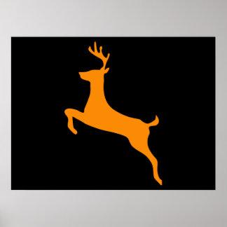 Orange Deer Silhouette Poster