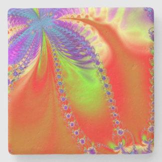 Orange Delight Fractal Stone Coaster