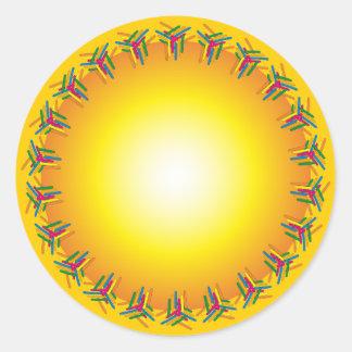 Orange design with colorful border classic round sticker