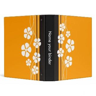 Orange Designer White Flowererd Binders binder