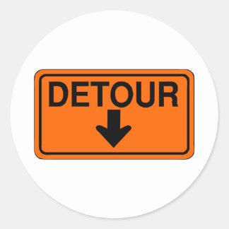 orange detour down sign classic round sticker