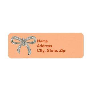 Orange Diamond Bow Wedding Address Labels