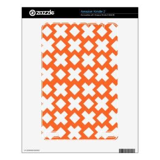 Orange Diamond Cross Monogram Pattern Skin For The Kindle