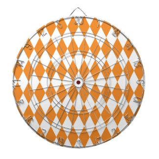 Orange Diamond Modern Retro Pattern Dartboard With Darts