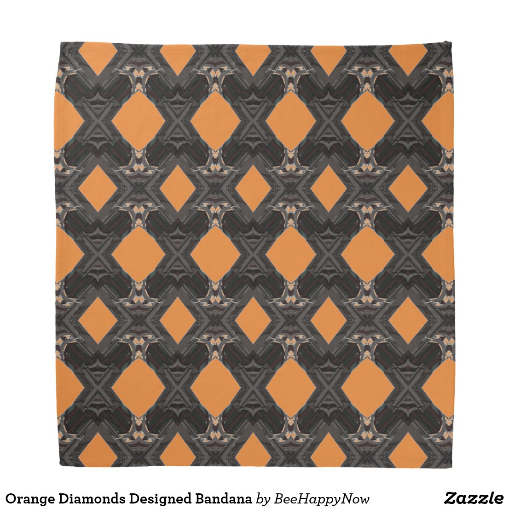 Orange Diamonds Designed Bandana