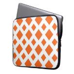 Orange Diamonds on White Laptop Sleeves