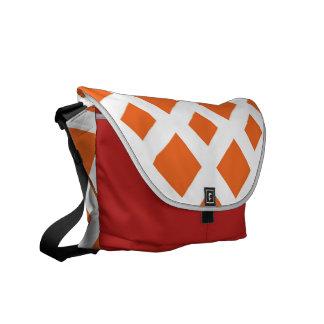 Orange Diamonds on White Messenger Bag
