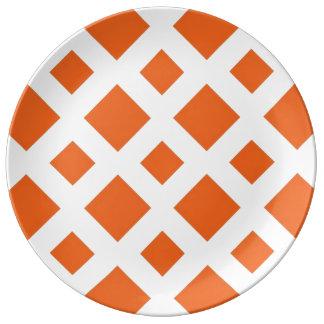 Orange Diamonds on White Porcelain Plate