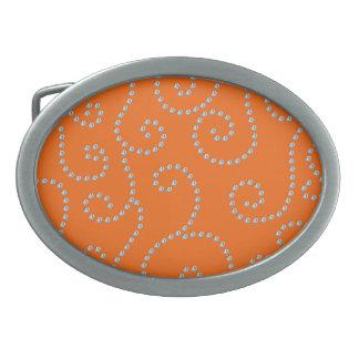 Orange diamonds swirls oval belt buckles