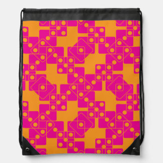 Orange Dice Drawstring Bag