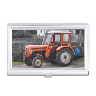 Orange Diesel Tractor Steyr KL II Business Card Holder