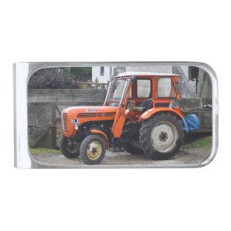 Orange Diesel Tractor Steyr KL II Silver Finish Money Clip