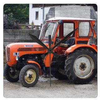 Orange Diesel Tractor Steyr KL II Square Wall Clock