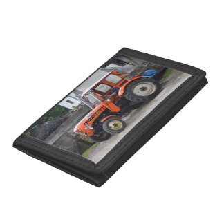 Orange Diesel Tractor Steyr KL II Trifold Wallets