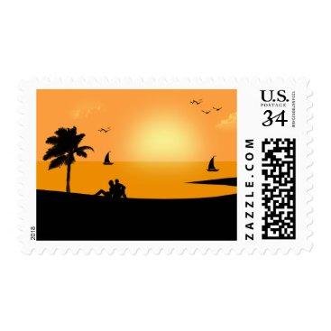 Beach Themed Orange Digital Art Sunset Beach Vacation Stamp