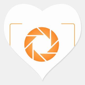 Orange Digital camera Heart Sticker