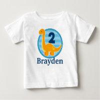 Orange Dinosaur Birthday Shirt for Kids