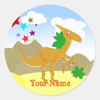 Orange Dinosaur Cartoon Name Stickers