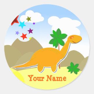 Orange Dinosaur Name Stickers
