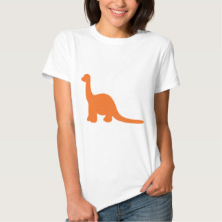 Orange dinosaur silhouette illustration tee shirt