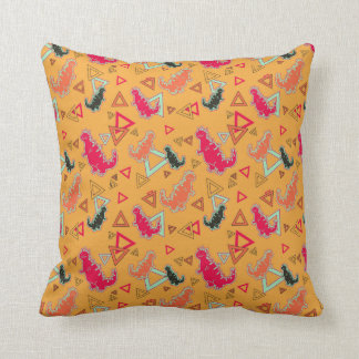 Orange Dinosaurs and Triangles Pattern American Mo Pillow