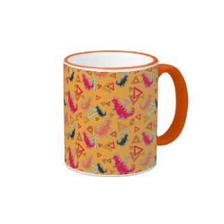 Orange Dinosaurs and Triangles Pattern Mug Mug