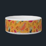 """Orange Dinosaurs and Triangles Pattern Pet Bowl<br><div class=""""desc"""">A product with a bright, orange Jurassic pattern on it. The pattern shows an orange, black, and a reddish dinosaur, with spikes, claws, and teeth. These dinosaurs are simply adorable, and have a smile on their face. In the background are a bunch of different colored triangle designs. Great for anyone...</div>"""