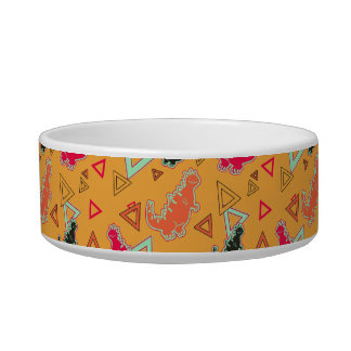 Orange Dinosaurs and Triangles Pattern Pet Bowl
