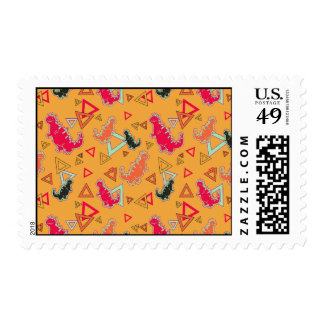 Orange Dinosaurs and Triangles Pattern Postage Stamp