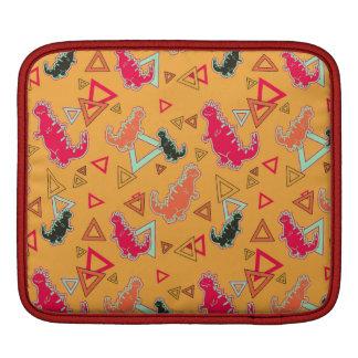 Orange Dinosaurs and Triangles Pattern Rickshaw Sl iPad Sleeve