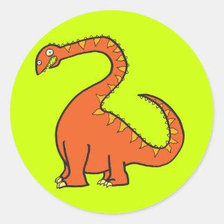 Orange Diplodocus Round Sticker