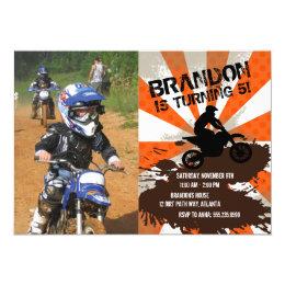 Dirt bike invitations announcements zazzle orange dirt bike birthday invitation filmwisefo Gallery