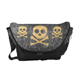 Orange Distressed Skull Messenger Bag