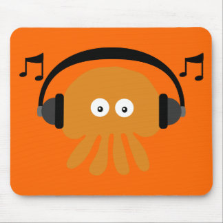 Orange DJ Jellyfish & Musical Notes Customizable Mouse Pads