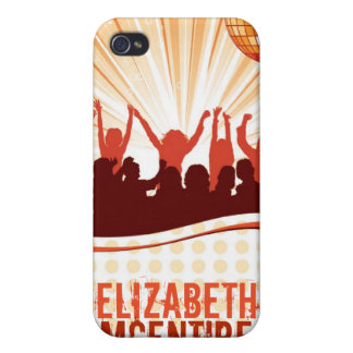 Orange DJ Spin Party Personalized iPhone 4 Case