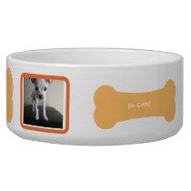 Orange Dog Bone Photo Personalized Pet Bowl