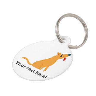 Orange dog cartoon pet tag