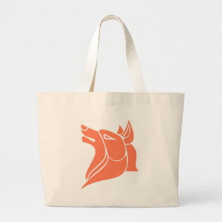 Orange dog large tote bag