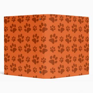 Orange dog paw print pattern 3 ring binder