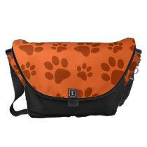 Orange dog paw print pattern messenger bag
