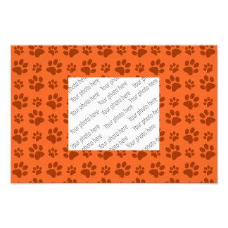 Orange dog paw print pattern photo print