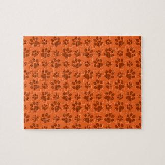 Orange dog paw print pattern puzzles