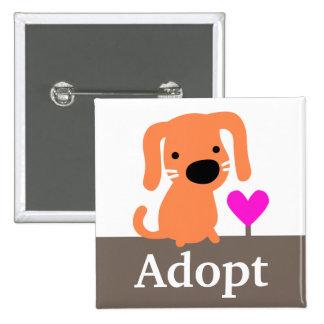 Orange Dog Pet Adoption Pinback Button