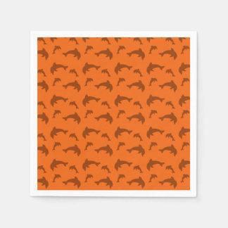Orange dolphin pattern paper napkin