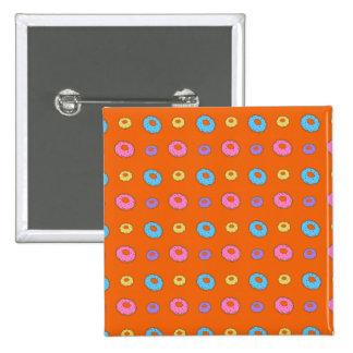 Orange donut pattern pinback buttons