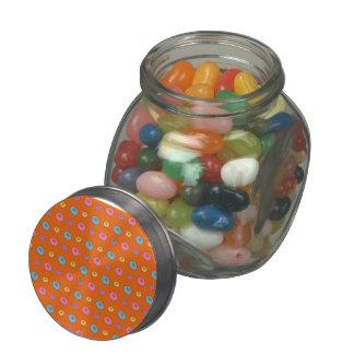 Orange donut pattern glass jar